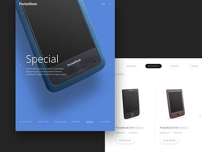 PocketBook Filters slider design website e-commerce design e-commerce shop special product filter pocketbook composition typography design web ui