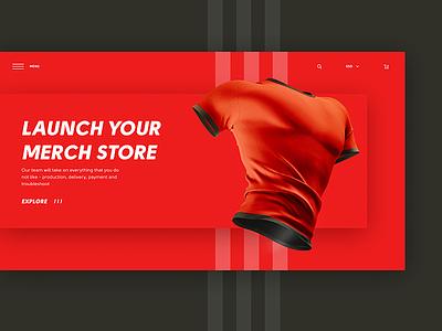 Merch store Concept composition typography ecommerce blogger blog merchstore concept red website webdesign ui