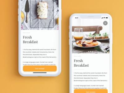 Breakfast App detail view floating button screen design iphonex ui app breakfast
