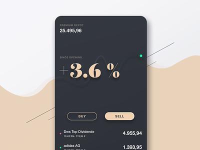 Finance App Depot Display finance mobile app depot money list dashboard graphs finance app ui berlin