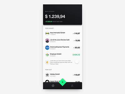 Finance App Interaction Concept app minimal black berlin scroll animation navigation fintech banking finance app