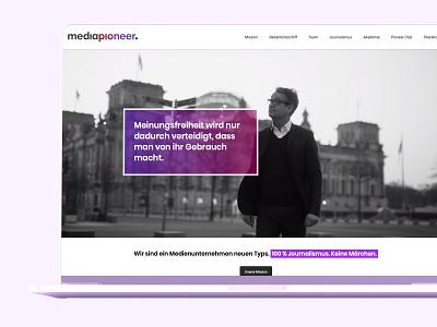 Media Pioneer Platform pink minimal clean lavender journalism berlin pixelpink webdesign