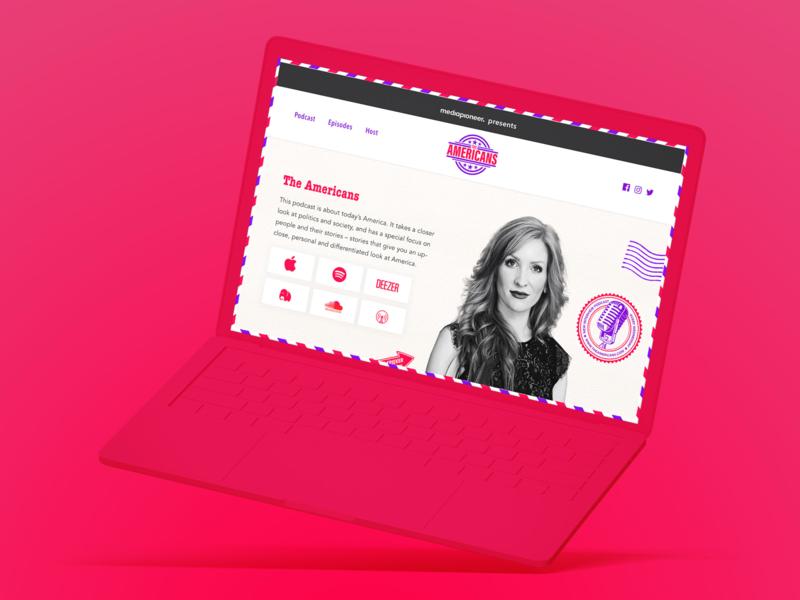 The Americans Website contentful gatsby red pink americans berlin mediapioneer webdesign website podcast