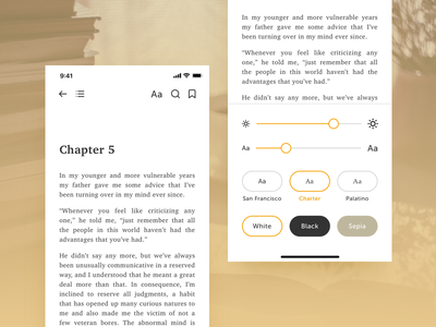 Book Reader App Redesign - Reader View & Settings ios app mobile design minimal clean concept flat iphone interface sketch