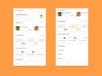 Account screen for a food app