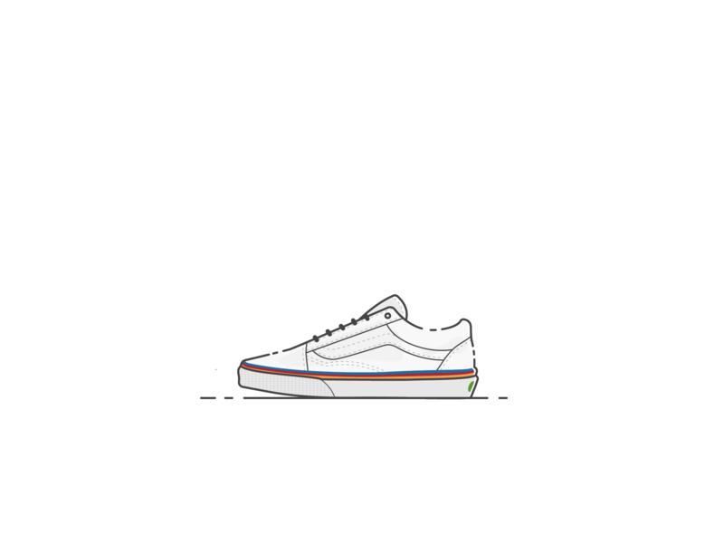Vans Old Skool Rainbow Foxing vector illustration vector sneaker vans line illustrator illustration design color art adobe illustrator 2d