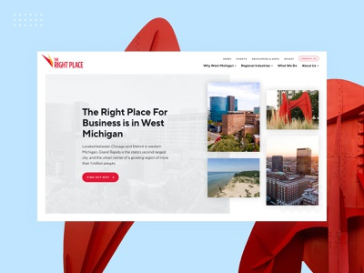 The Right Place Home Hero page layout business color hero homepage home city michigan web design web design grand rapids mighty
