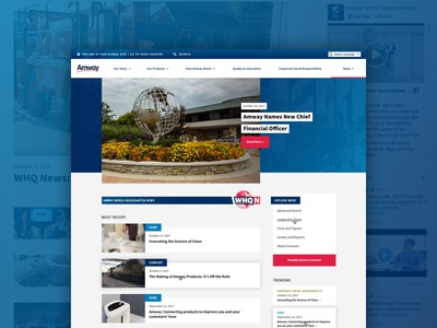 Amway Global Whq News desktop web news blue design web design homepage home grand rapids mighty