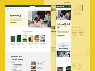 Zondervan Academic Home Page students academic mobile ui homepage layout color ui design web web design grand rapids mighty