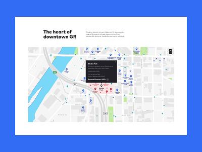 Studio Park Map downtown city mapbox map michigan texture color ui web design web design grand rapids mighty