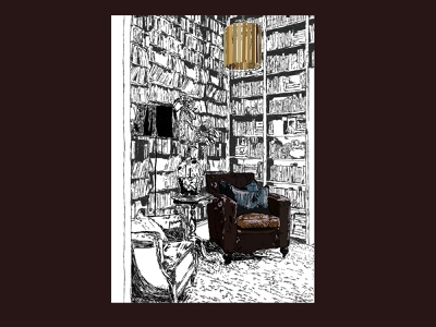 the library art books book print line colour vector illustration design
