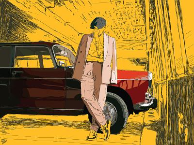 Classy print line colour art illustration vector design