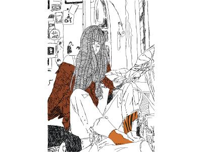 haIr print line colour art illustration vector design