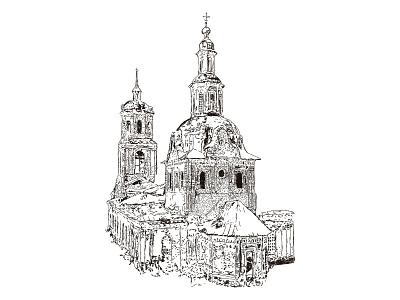 church print line art illustration vector design