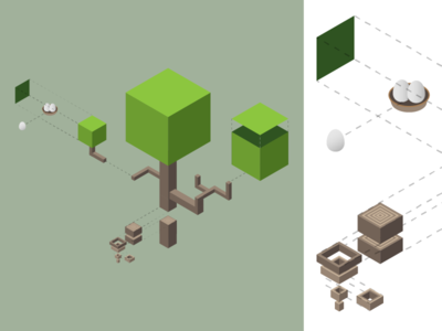 ISO Tree (expanded) expanded isometric explode nest tree iso