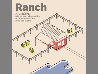 Ranch perspective isometric outdoor cattle ranch farm iso
