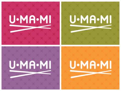 Umami asian chopsticks umami food logo pattern color branding