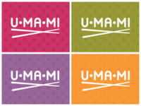 Umami asian chopsticks umami food logo pattern color branding