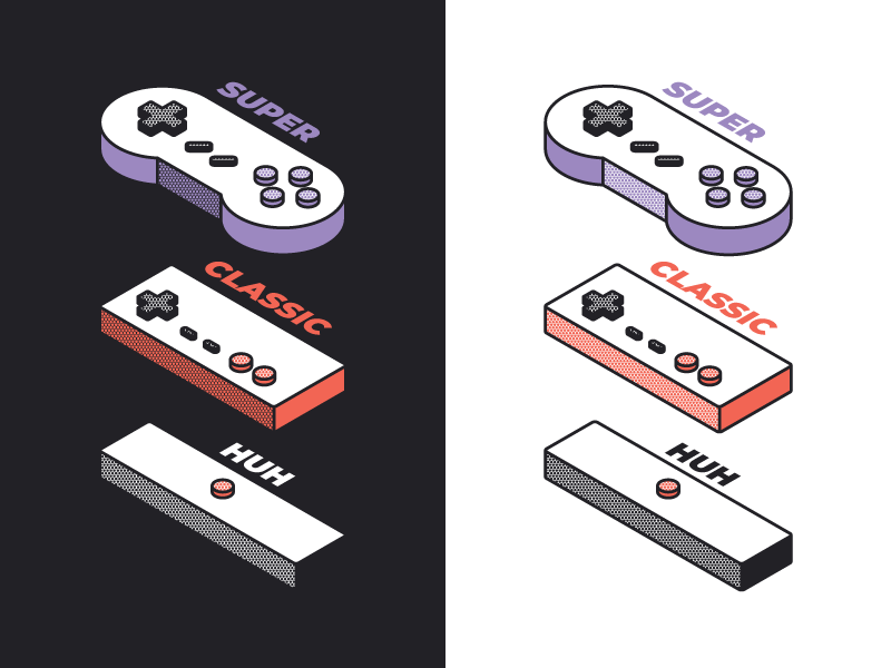 Devolution of gaming box design 3d iso buttons controller lines dots color illustration game