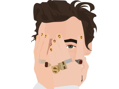 Harry Styles fashion makeup hand drawn green eyes rings jewelry peeking nails hands vector animation editorial gq harry styles beauty design social illustration