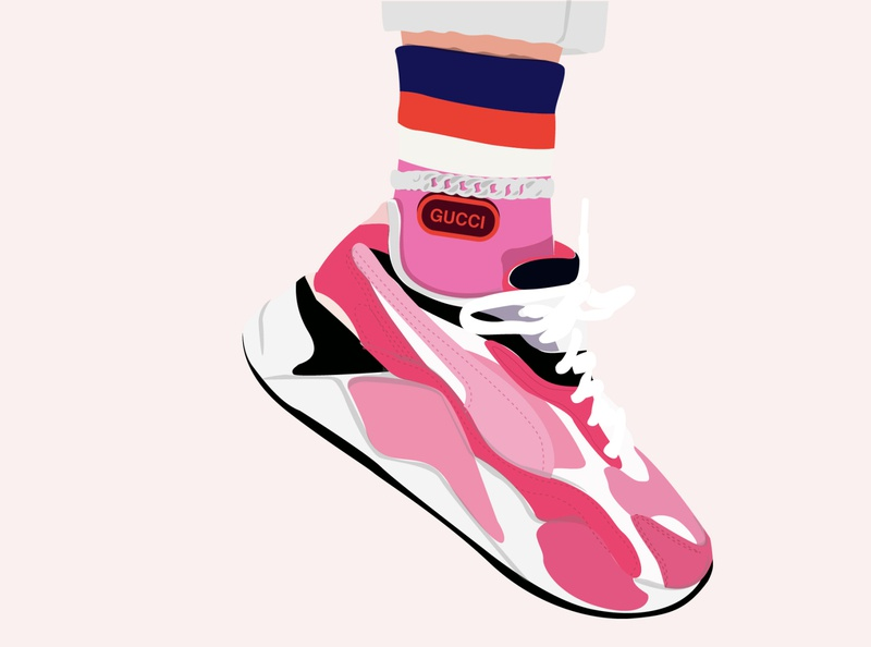 Sally Sneaker Head girl makeup street style streetwear fashion illustration fashion design socks anklet gucci fashion pink illustration illustrator sneaker illustration sneaker art puma shoes sneakers sneaker