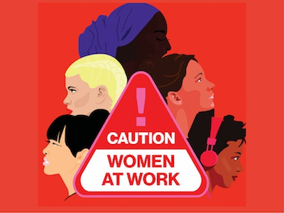 Caution Women at Work feminism equal pay illustration women