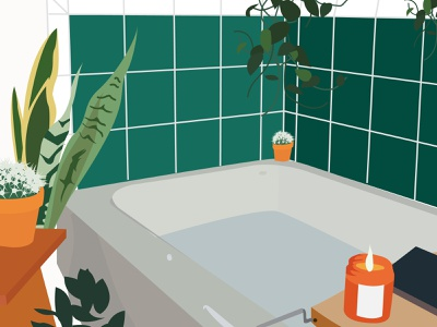 #SelfCareSunday relaxation meditation website online media books cactus aroma candles shower tubs plants illustration blog lifestyle beauty selfcare bubbles relax bathtub