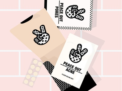 Peace Out design social logo beauty product bathroom tile health skincareherbal acne branding makeup overhead pink illustration packaging tile bathroom shelfie beauty skincare