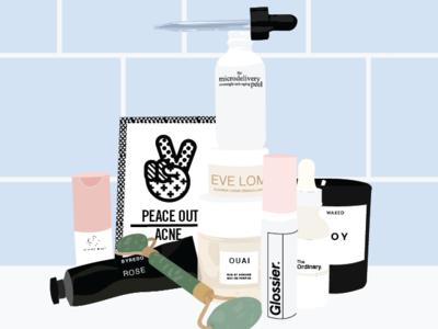 Selfcare Sunday packaging lotion acne illustration jade roller candle bathroom tile shelf shelfie social makeup skincareherbal skincare beauty selfcare