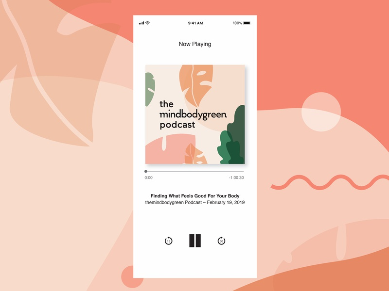mindbodygreen podcast health shape vector ui design social illustration podcast