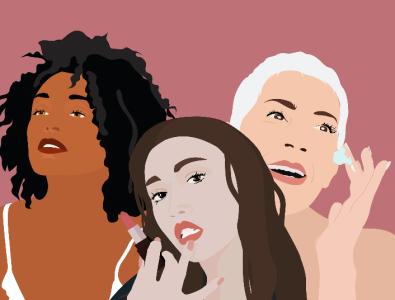 Anti-Aging Campaign with AARP & Allure social media design eye cream lipstick women instagram social media illustration illustrator vector beautiful aarp skincareherbal skincare beauty aging