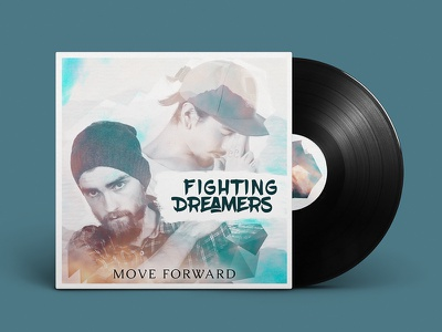 Fighting Dreamers  photo manipulation digital art typography vinyl cover cover design cd cover