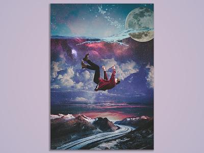 Falling  fantasy art poster design visual effects poster digital art imaging photo manipulation