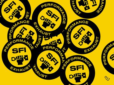 SFI logotype pistons pisotn logo logo designer hand mark hand illustration hand drawn hand gestures hand logo brand identity automotive brand design illustration typography branding creative design mark logo symbol