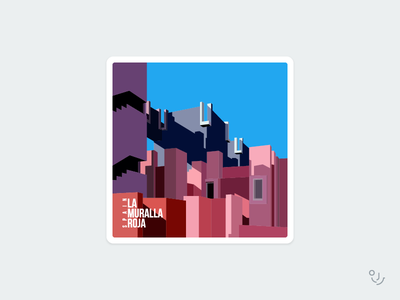 la muralla roja badge sticker illustrtion spain
