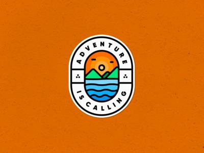 Adventure is Calling adventure badge logo badge illustration vector mark creative design symbol logo