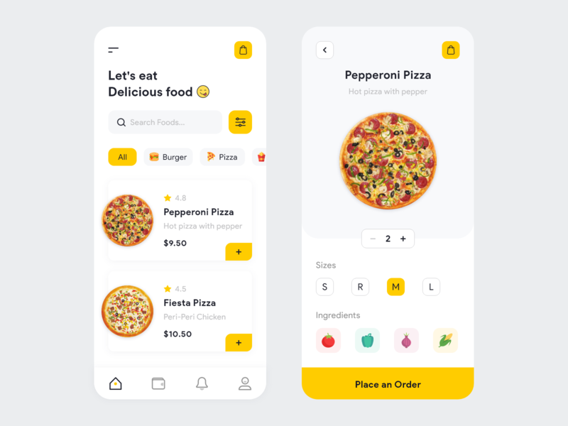 Food Delivery App ios mobile design delivery size burger images ingredients cart food pizza app ui