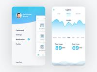 Smart Home App: Side Bar & Lights