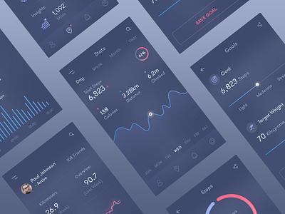 Fitness Tracking app statistics dark icon graph gradient data chart bars analytics