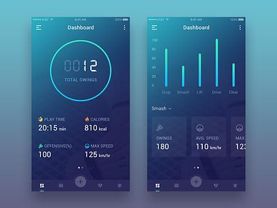Badminton App Dashboard ux ui mobile menu ios icons graph gradient dashboard cool colors app