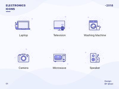 Electronics Store Icon Set beautiful icongraphy illustrator colors speaker microwave camera washing machine television laptop blue icons