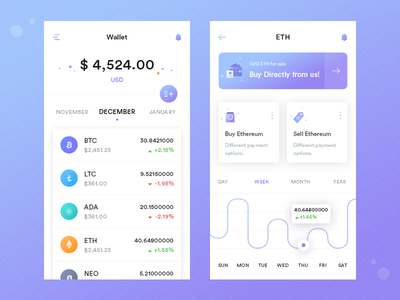Crypto Wallet beautiful gradient colors icons payment mobile ui exchange wallet crypyo app cryptocurrency
