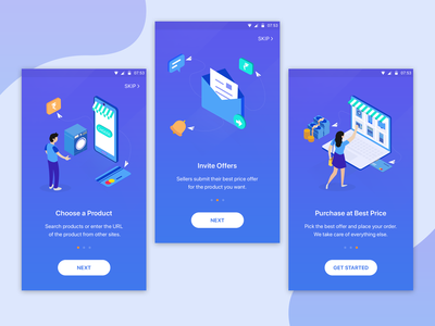 Onboarding illustration Screens - Dark Version beautiful gradient android app screens onboarding mobile material illustration design colors character