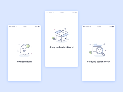 Empty States notification search products illustrations graphic web ui icons states empty null ios