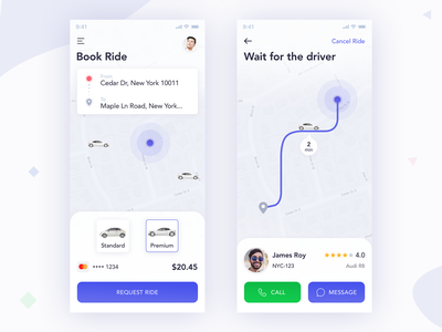 Book Ride book cab location taxi ui profile map design cars payment booking ios