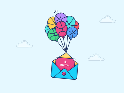 4 Dribbble Invites colorful message four welcome join colors cards illustration sky baloons balls invites dribbble