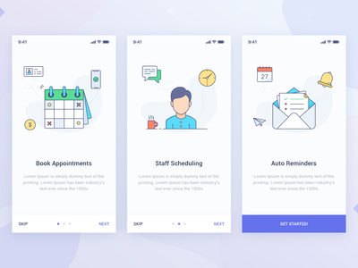 Walkthrough Screens reminders staff appointments graphic illustration welcome icons colors ux ui cards onboarding