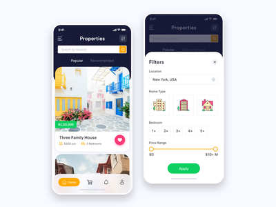 Properties & Filters app beautiful locations colors icons apartments house rent sell ux ui ios