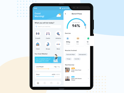 Fitness App For Galaxy Fold design vector art ux ui minimal interaction icons colors android galaxy flat fitness app