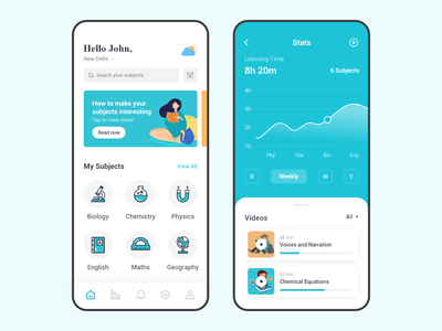 Online Learning App english physics chemistry biology stats home vectors icons ux ui student subjects education learning cool colors flat design course app